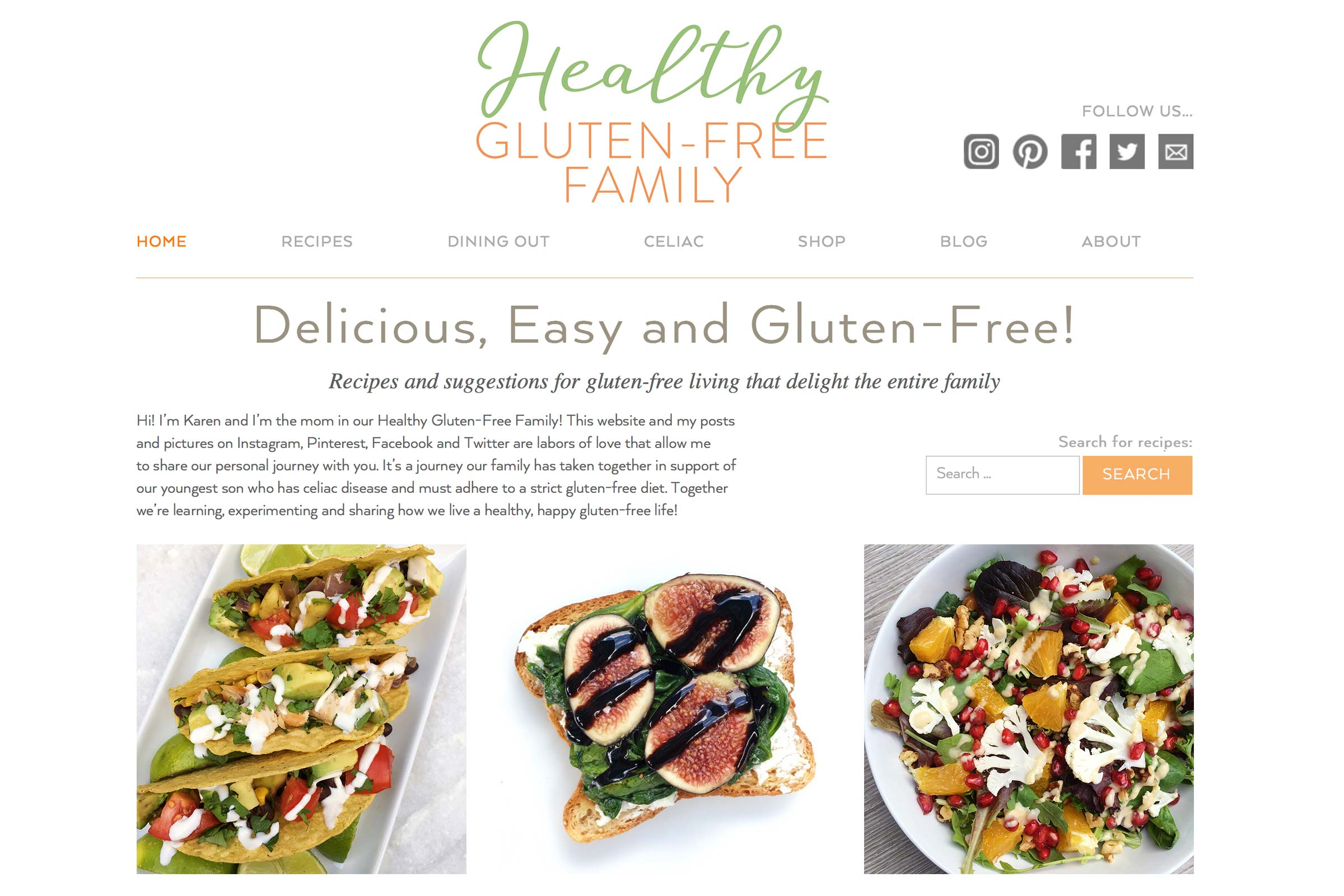 healthy gluten-free family website home page